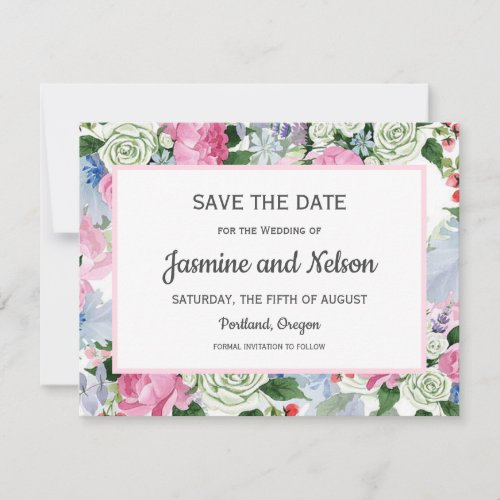 Boho pink Lilac blue Flowers Wedding Save the date RSVP Card