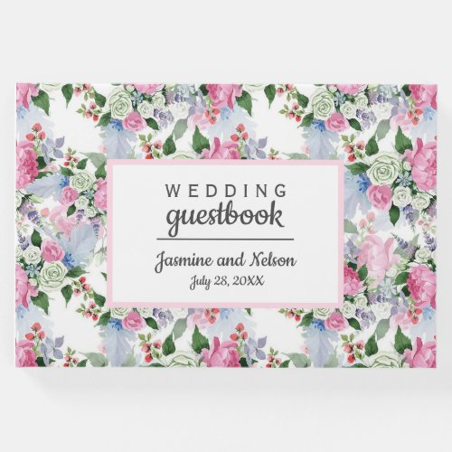Boho Pink White blue Wedding Personalized Flower Guest Book