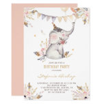 Boho Watercolor Elephant Floral Kids Birthday Invitation