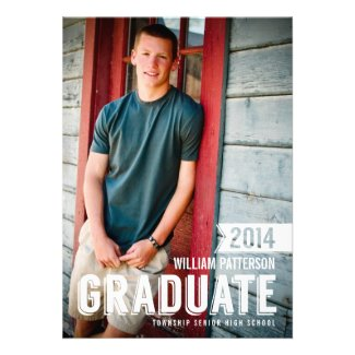 Bold Grad Guy Photo Graduation Party Invitation