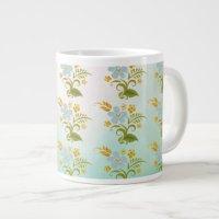 Bone China Green Blue Floral Giant Coffee Mug | Zazzle