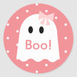 Boo! Halloween Ghost Girl Pink Polka Dots Classic Round Sticker