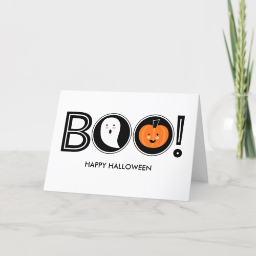 Boo! Happy Halloween Greeting Card