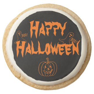 Boo Happy Halloween Round Premium Shortbread Cookie