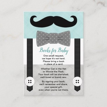 Books for baby boy little man mustache mint gray enclosure card