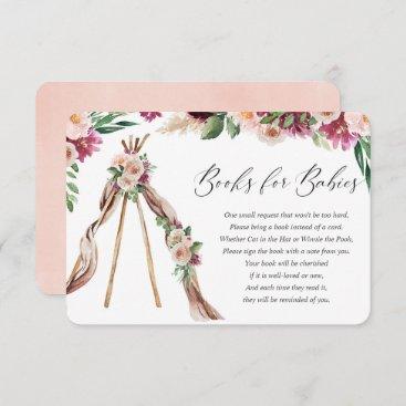 Books for twin babies boho bohemian floral rustic enclosure card