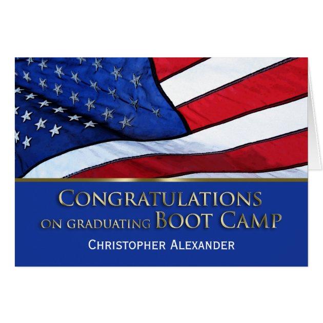 Boot Camp Graduation Congratulations U S Flag Card Zazzle