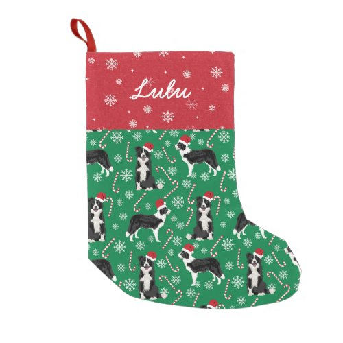 Border Collie Christmas Custom Dog Name Small Christmas Stocking