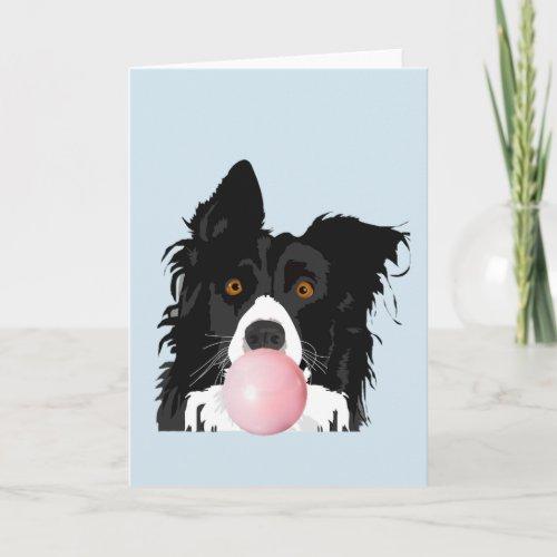 Border Collie Dog Blowing Bubble Gum Card