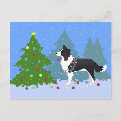 Border Collie Dog Decorating Christmas Tree Holiday Postcard