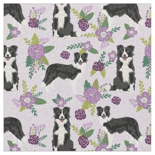 Border Collie dog purple florals Fabric