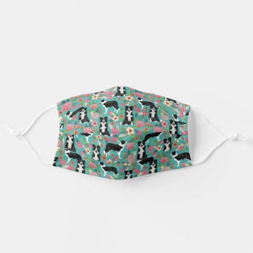 Border Collie Dog vintage style florals Cloth Face Mask