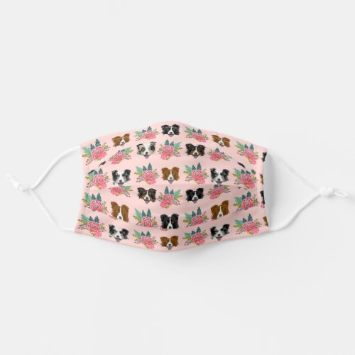 Border Collie faces pink florals dog Cloth Face Mask