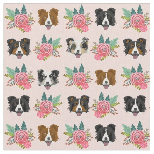 Border Collie faces pink florals Fabric