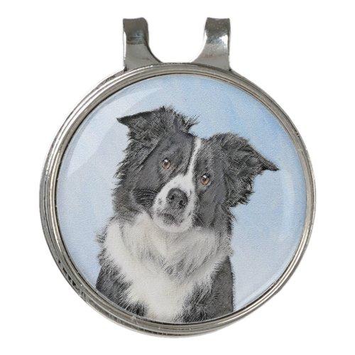 Border Collie Painting - Cute Original Dog Art Golf Hat Clip