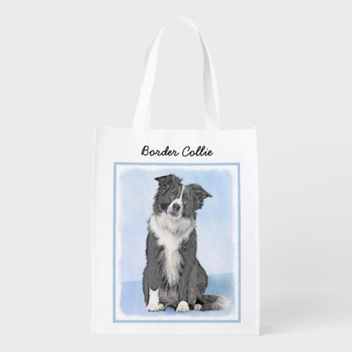 Border Collie Painting - Cute Original Dog Art Grocery Bag