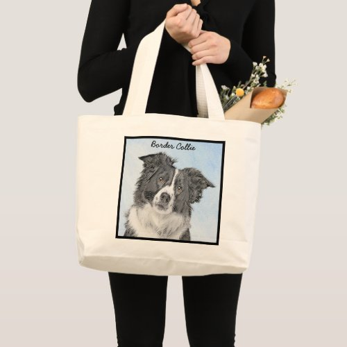 Border Collie Painting - Cute Original Dog Art Large Tote Bag