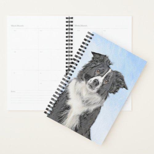 Border Collie Painting - Cute Original Dog Art Planner