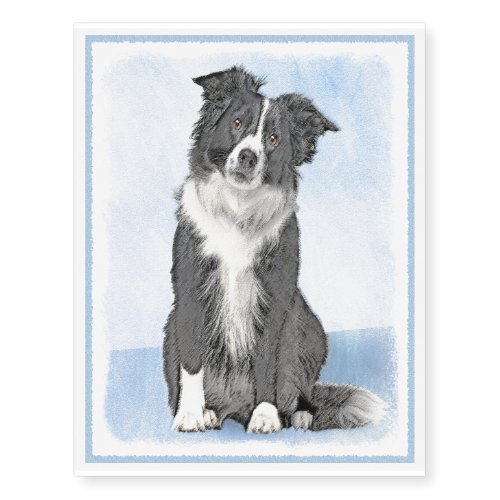 Border Collie Painting - Cute Original Dog Art Temporary Tattoos