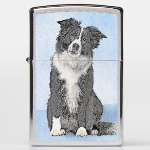 Border Collie Painting - Cute Original Dog Art Zippo Lighter