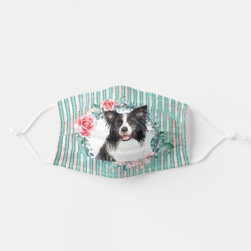 Border collie pet dog face watercolor rose cloth face mask
