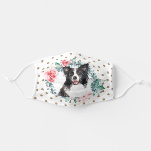 Border collie watercolor rose wreath polka dot adult cloth face mask
