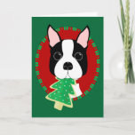 Boston Terrier Christmas Holiday Card