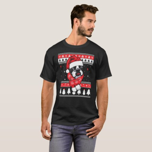 Boston Terrier Ugly Christmas Sweater T-Shirt