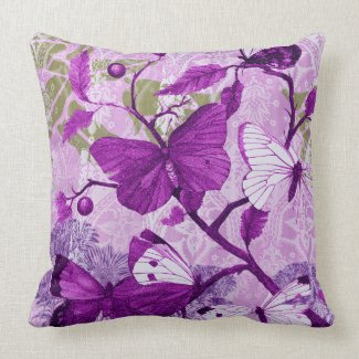 Botanical Butterflies Flora and Plants Throw Pillows