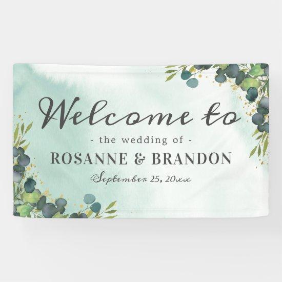 Botanical Eucalyptus Welcome Wedding Banner