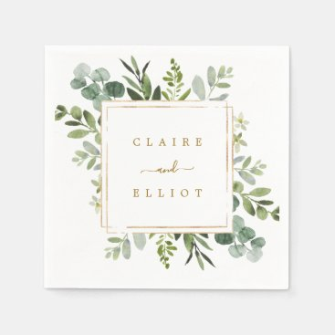 Botanical Gold Greenery Wedding Paper Napkins