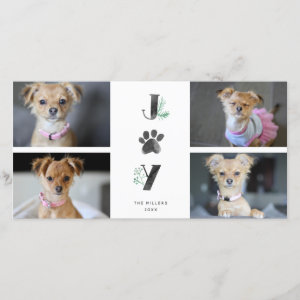 Botanical Joy Paw Print | Pet Holiday 4 Photo Card