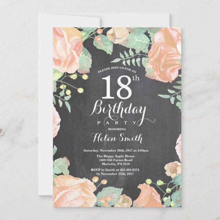 botanical peach floral 18th birthday invitation zazzle com