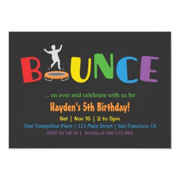 Bounce Trampoline Kids Birthday Party Invitations