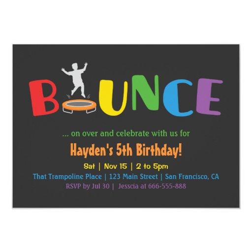 bounce birthday party invitations