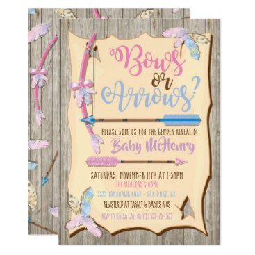 Bow or Arrows Gender Reveal Baby Shower Invitation