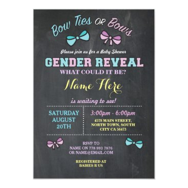 Bow Ties or Bows Gender Reveal Baby Shower invite