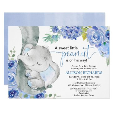 Boy baby shower, elephant floral blue watercolors invitation