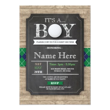 Boy Baby Shower Golf Ball Sports Chalk Invite