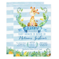 Boy Baby Shower Invitation, Giraffe Baby Shower Card