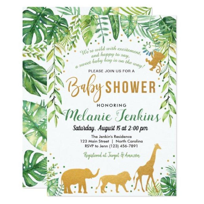Boy Baby Shower Invitation Jungle