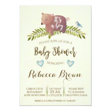 boy baby shower woodland forest bear cute invitation