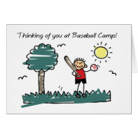 Boy Baseball Camp Stick Figure Thinking of You Card
