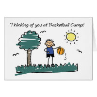 Boy Basketball Camp Stick Figure Thinking of You Card