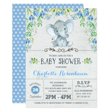 Boy Elephant Baby Shower Invitation Blue Floral