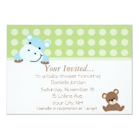 Boy Hippo Baby Shower Invitation