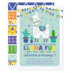 Boy Llama Birthday / Cute Alpaca Fiesta Party Invitation