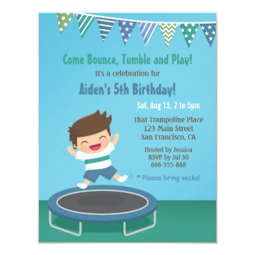 Boy on Trampoline Kids Birthday Party Invitations