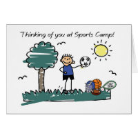 Boy Sports Camp Stick Figure Thinking of You Card