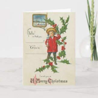 Boy with Phone Christmas Card card